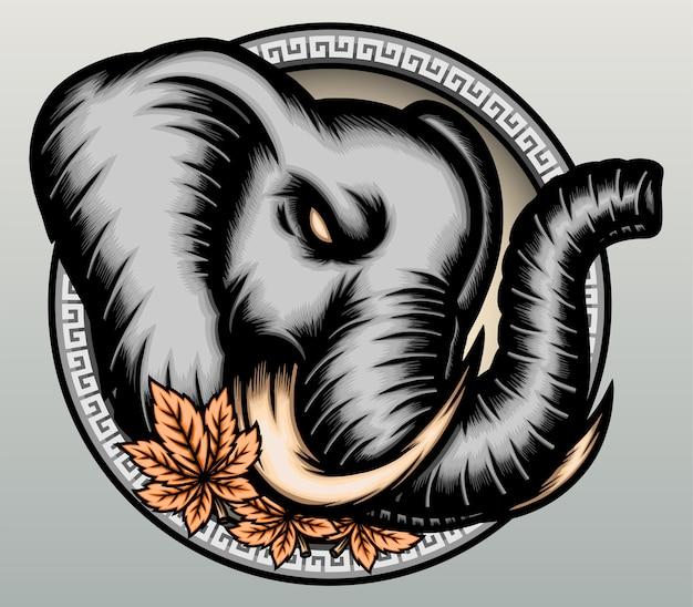 Tête d'éléphant d'asie dessiné à la main