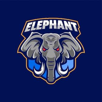 Tête d'éléphant en colère logo sport