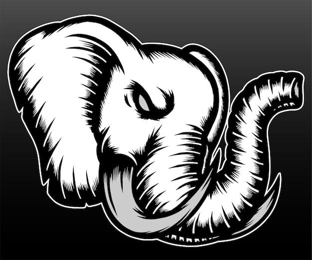 Tête d'éléphant cool isolée sur fond noir