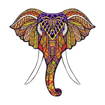 Tête d'éléphant de couleur