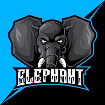 Tête d'éléphant, illustration vectorielle de mascotte esports logo