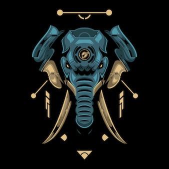 Tête d'éléphant incroyable sur fond noir