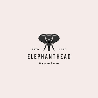 Tête d'éléphant logo hipster rétro vintage icône illustration