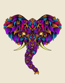 Tête d'éléphant avec style coloré d'ornement