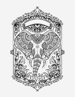 Tête d'éléphant avec style d'ornement vintage