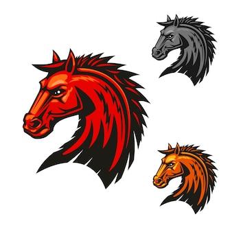 Tête d'étalon cheval. étalon avec logo vectoriel crinière rouge.