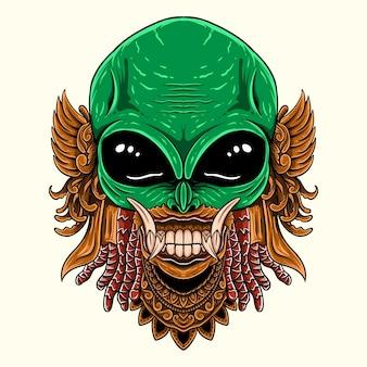 Tête extraterrestre dessinée à la main avec illustration de style de gravure d'ornement rangda barong