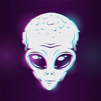Tête extraterrestre avec effet glitch