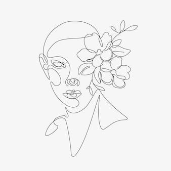 Tête de femme avec composition de fleurs illustration lineart dessinée à la main dessin de style une ligne
