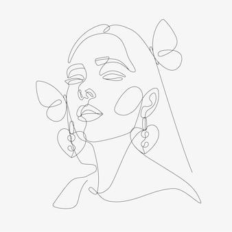 Tête de femme avec composition de papillons