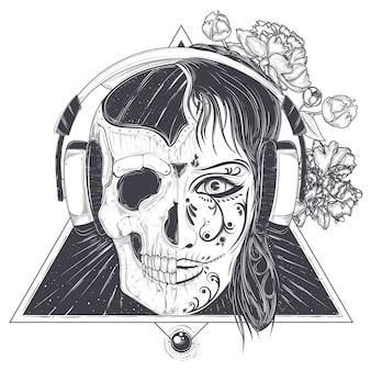 Tête de femme avec le crâne demi-visage gravé