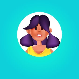 Tête de femme dans un cadre rond femme avatar personnage portrait illustration vectorielle