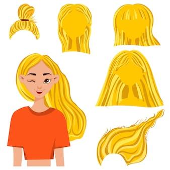 Tête de femme avec un ensemble de coiffures. style de bande dessinée. illustration vectorielle.