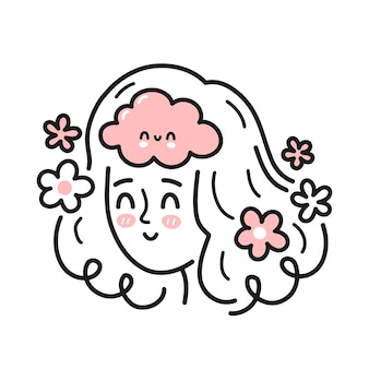 Tête de femme mignonne avec un cerveau heureux à l'intérieur. bonne humeur, santé mentale, concept émotionnel