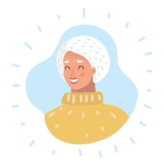Tête de femme senior icône de profil