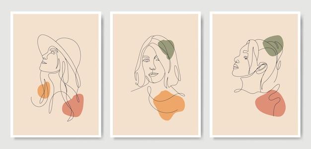 Tête de femme style d'art en ligne