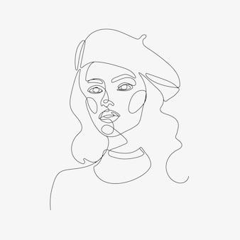Tête de femme style art oneline