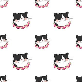 Tête de fond transparente motif de chat noir