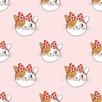 Tête de fond transparente motif de chat sur rose
