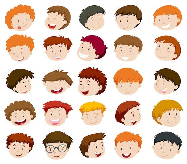 Tête de garçons avec visage heureux