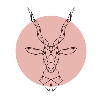 Tête géométrique d'antilope.