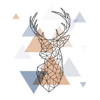 Tête géométrique du cerf scandinave.
