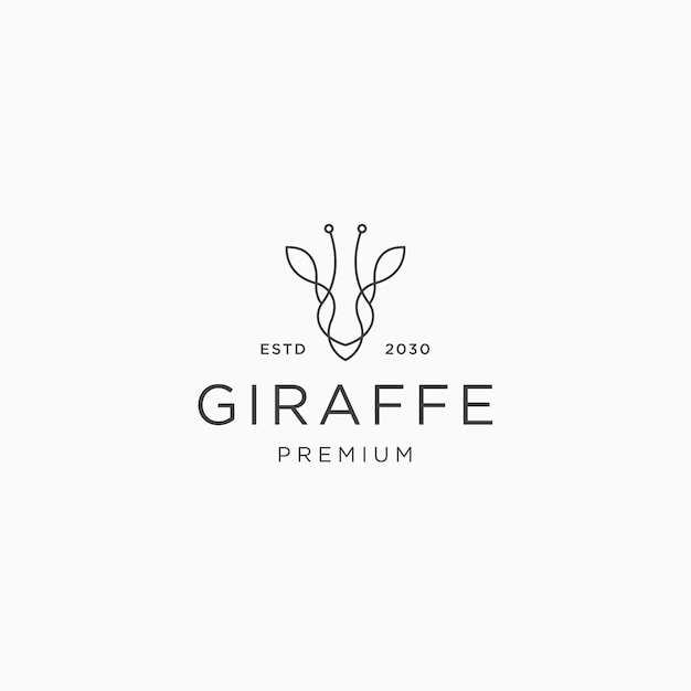 Tête de girafe ligne art logo icône modèle de conception vecteur plat