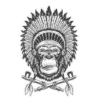 Tête de gorille chef indien amérindien