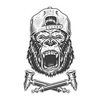 Tête de gorille en colère dans une casquette hipster