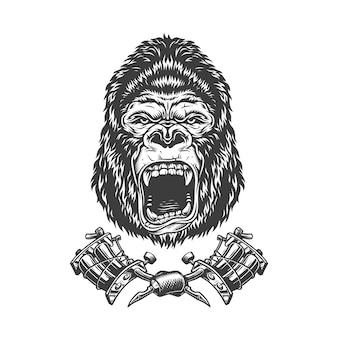 Tête de gorille en colère monochrome vintage