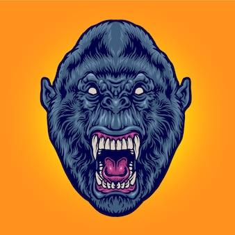Tête de gorille en colère