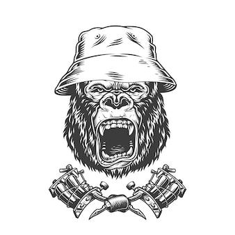 Tête de gorille féroce au chapeau panama