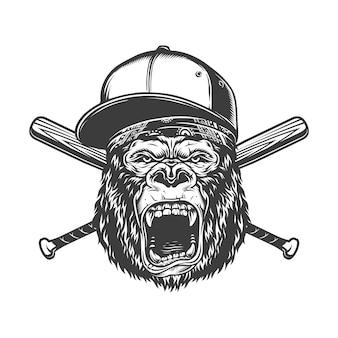 Tête de gorille féroce monochrome vintage