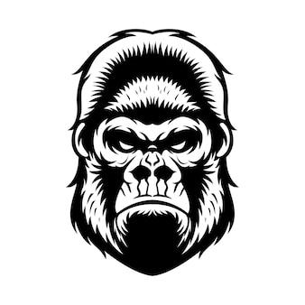 Tête de gorille graphique illustration noir et blanc