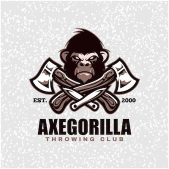 Tête de gorille avec haches et couteaux, logo du club de lancer.