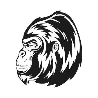 Tête de gorille latérale avec illustration vectorielle de style monochrome