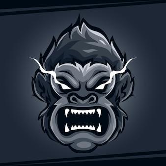 Tête de gorille mascotte animale en colère pour le sport et l'esport logo vector illustration