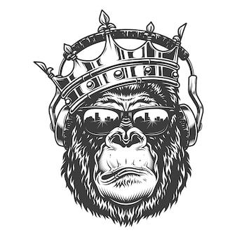 Tête de gorille en style monochrome