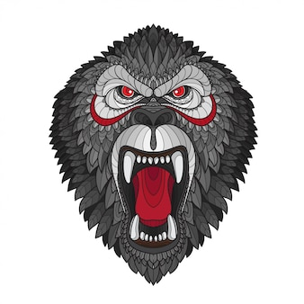 Tête de gorille stylisée zentangle