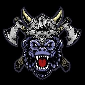 Tête de gorille viking avec casque et hache mascotte design