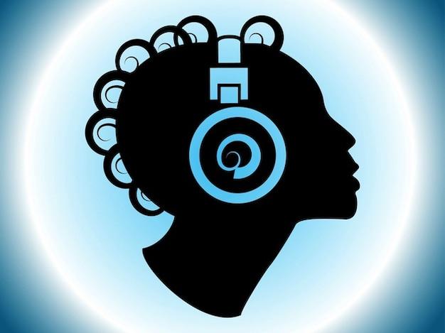 Tête avec de grands écouteurs