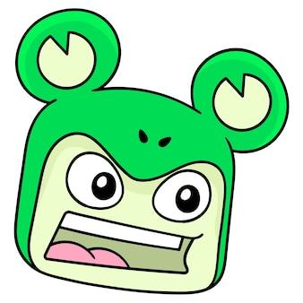 La tête de grenouille a ri joyeusement, émoticône de carton d'illustration vectorielle. dessin d'icône de griffonnage