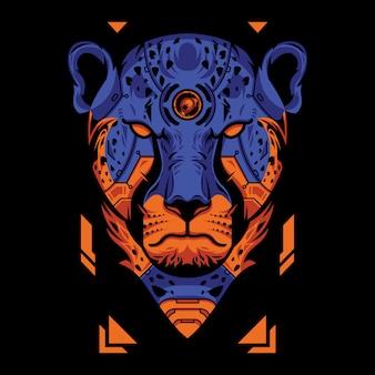 Tête de guépard bleue et orange sur fond noir