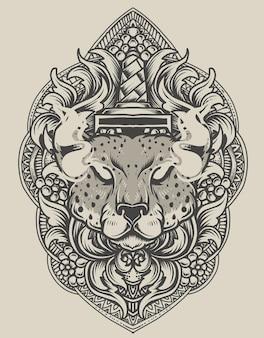 Tête de guépard illustration avec ornement de gravure