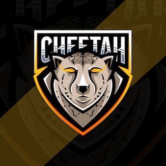 Tête de guépard mascotte logo esport design
