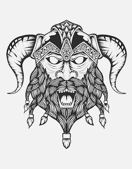 Tête de guerriers viking isolée sur fond gris