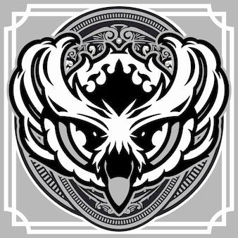 Tête de hibou sur illustration de fond ornement vintage
