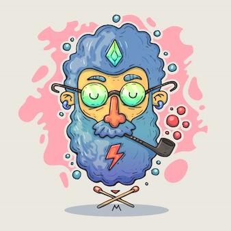Tête de hipster de dessin animé.