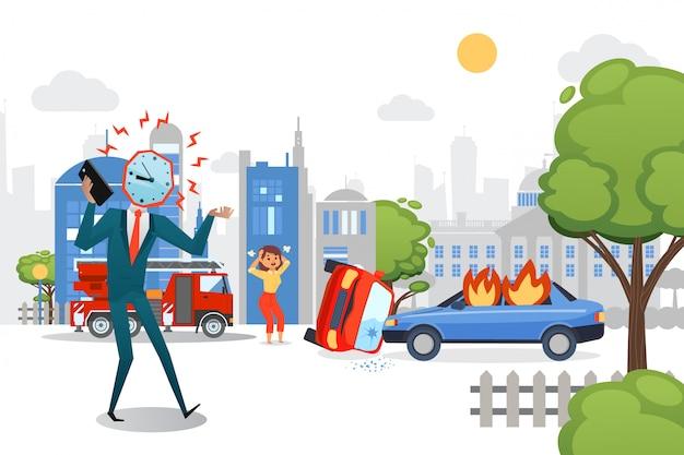 Tête d'homme d'affaires appeler illustration de l'employé en retard. fille de caractère se tenir sur la route, accident de voiture de ville. patron en costume en colère