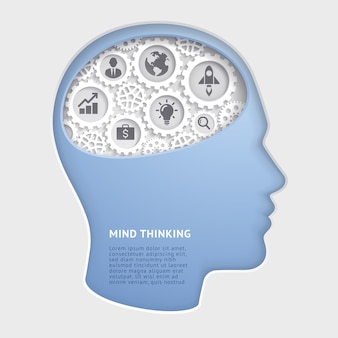 Tête d'homme esprit pensant avec des illustrations en papier de symbole d'engrenage